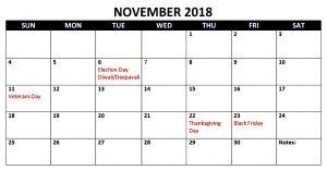November 2018 Calendar with Holidays UK