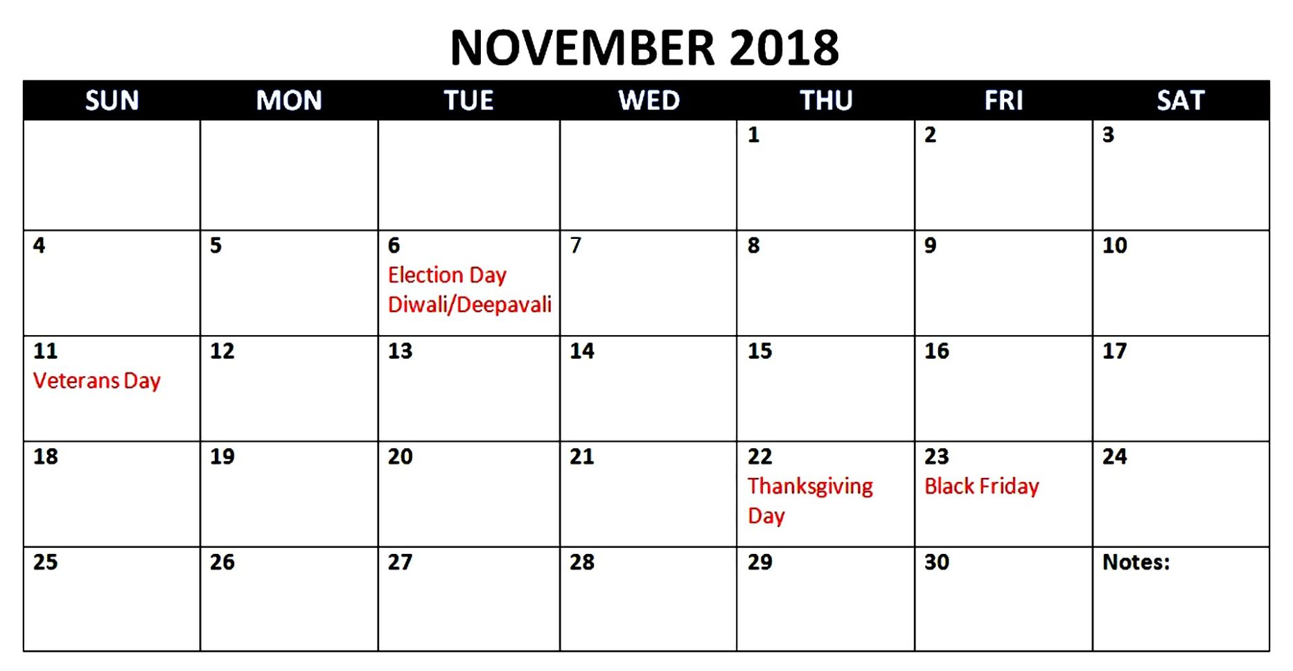 Best 25 November 2018 Calendar With Holidays Printable Free Download
