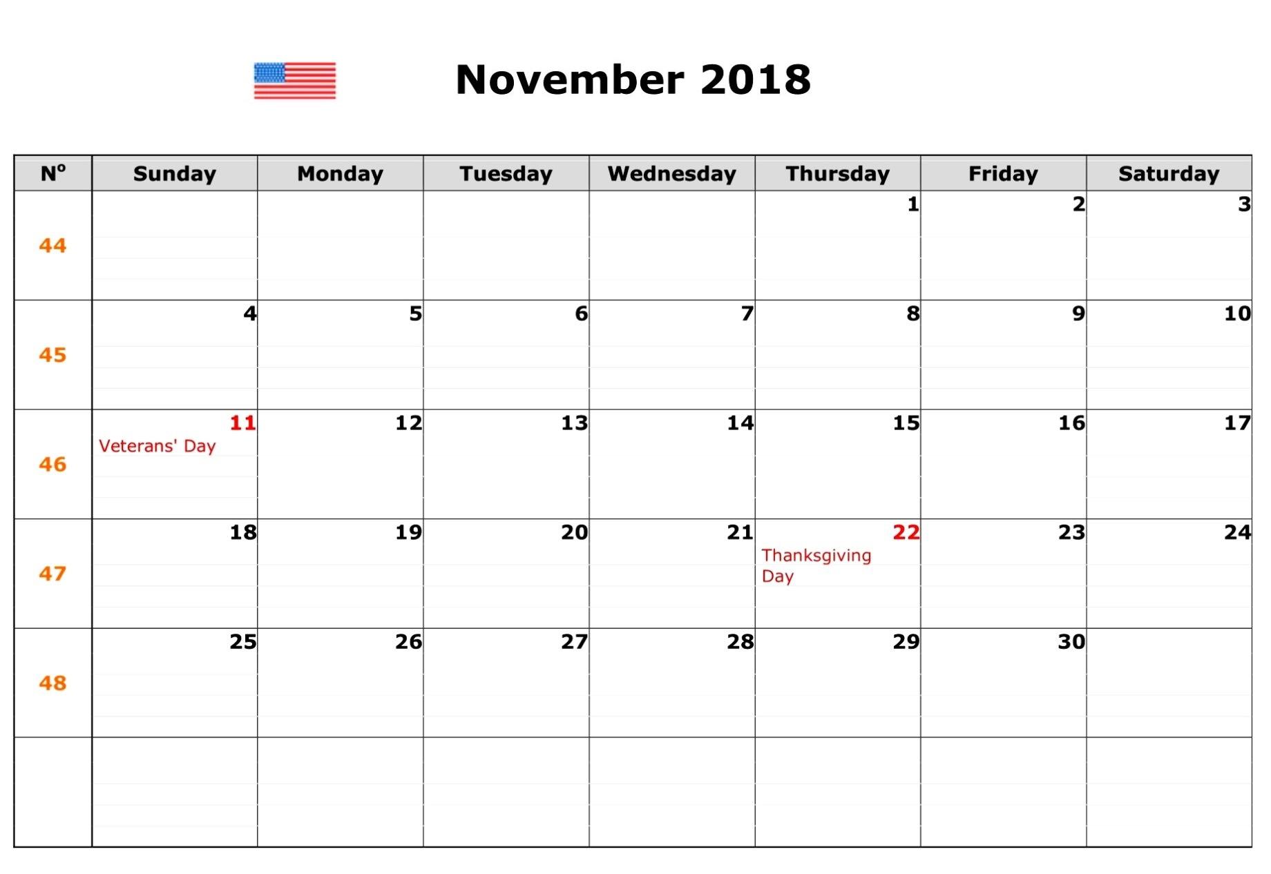 november 2018 calendar with holidays usa