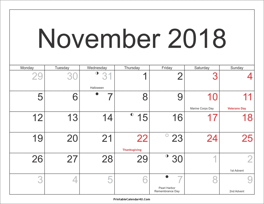 photo about Calendar Printable With Holidays identified as November 2018 Calendar with Holiday seasons freeaugust2018calendar