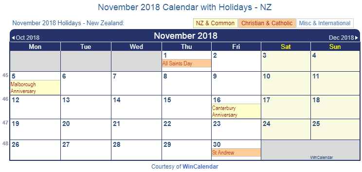 November 2018 Calendar with NZ Holidays