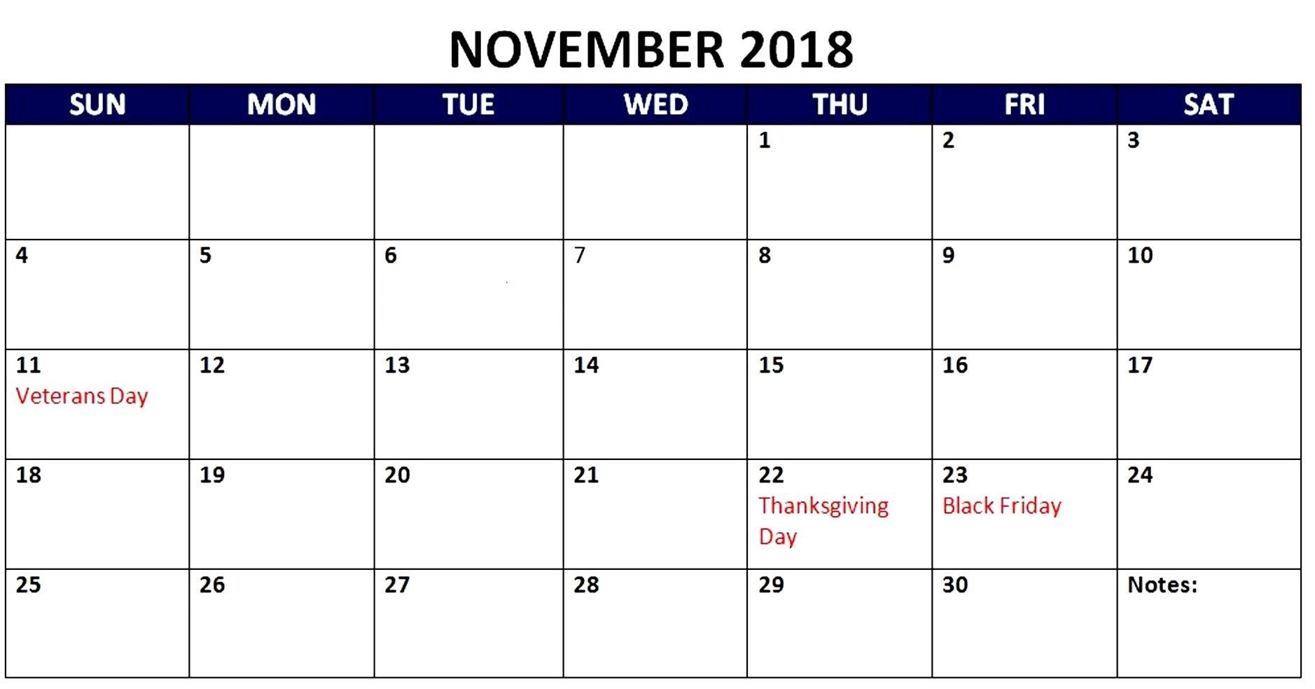 November 2018 Holidays Calendar Australia