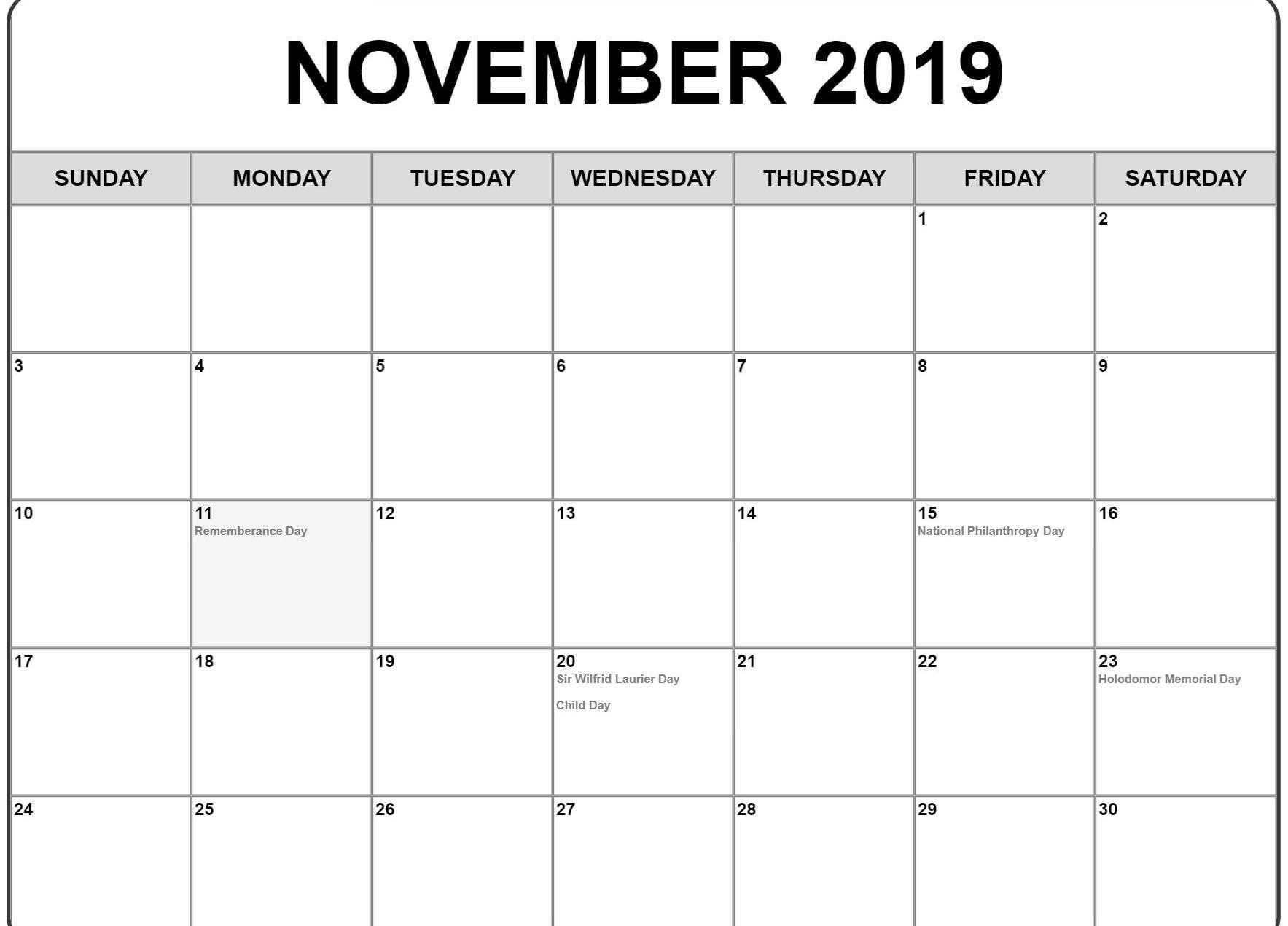 November 2019 Calendar Printable Templates