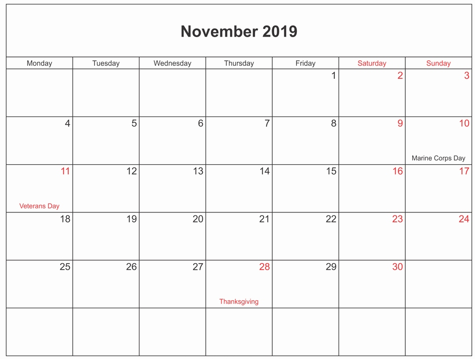 November 2019 Calendar With Holidays Australia