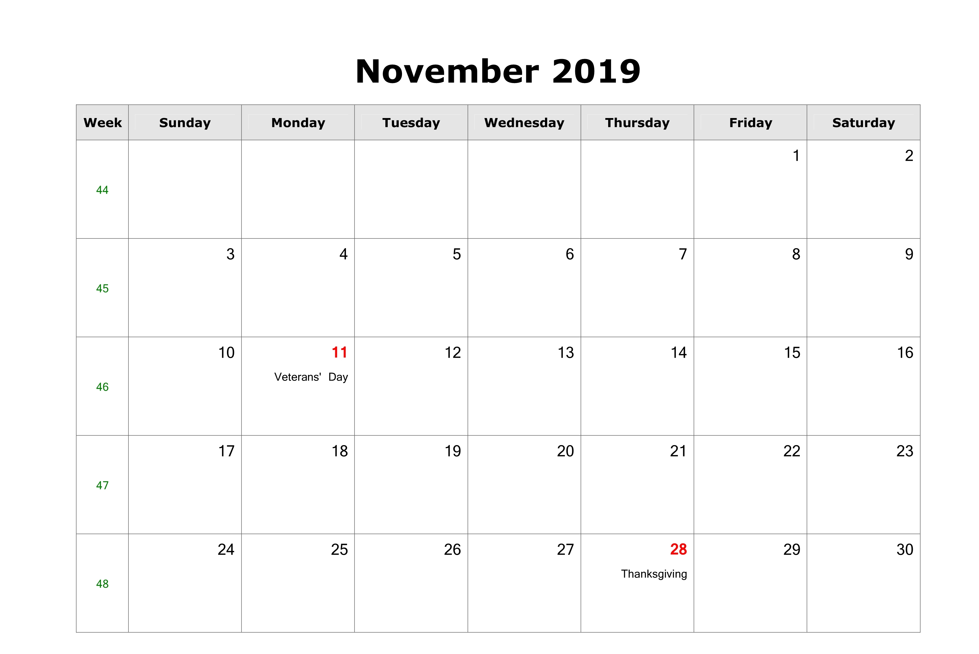 November 2019 Calendar With Holidays Canada