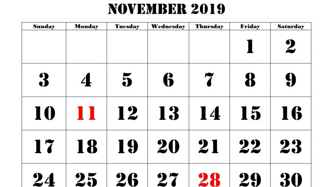 Free Printable 2019 Calendar With Uk Holidays.Best 25 November 2019 Calendar With Holidays Printable Free Download