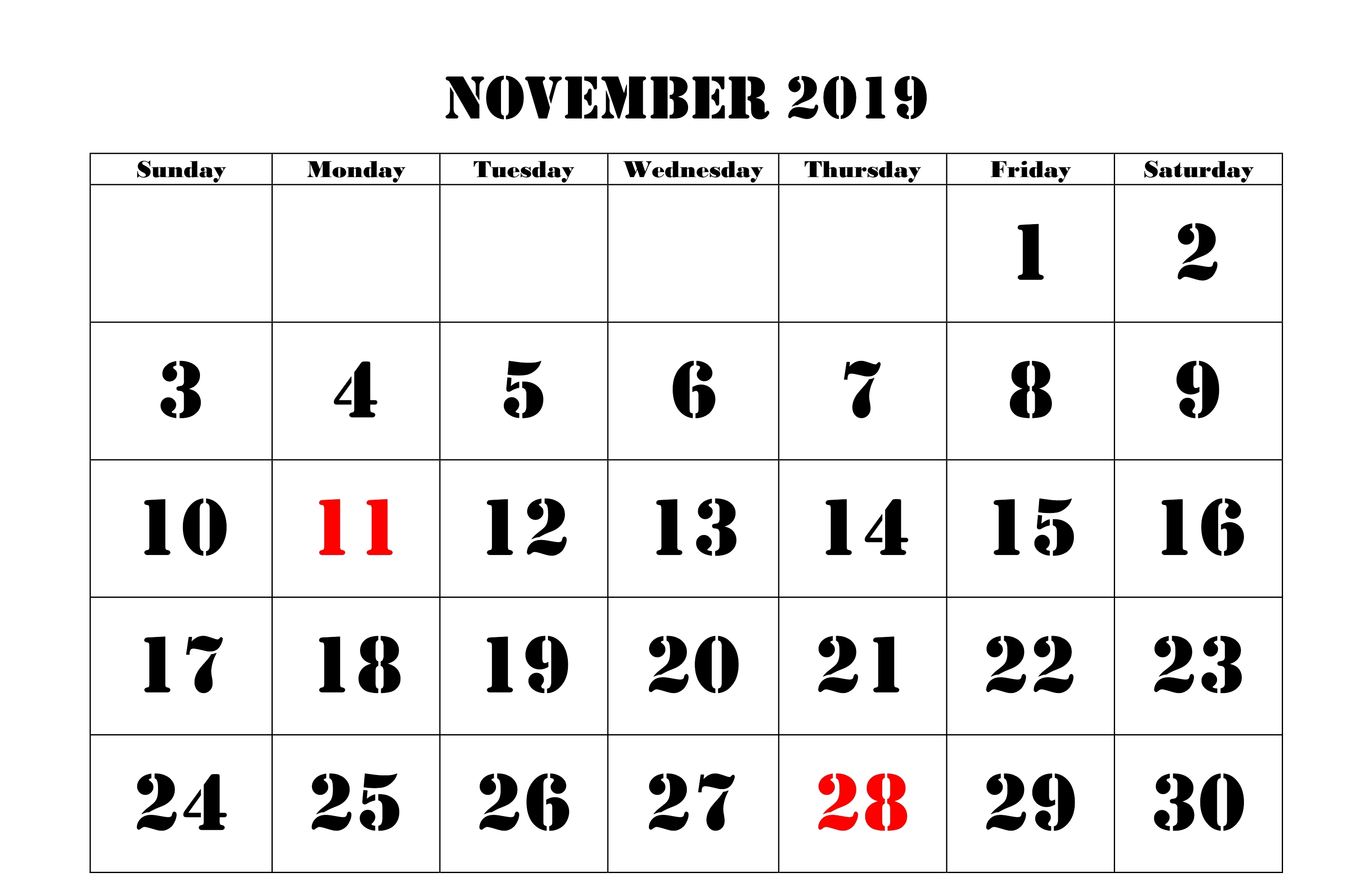 November 2019 Calendar With Holidays UK
