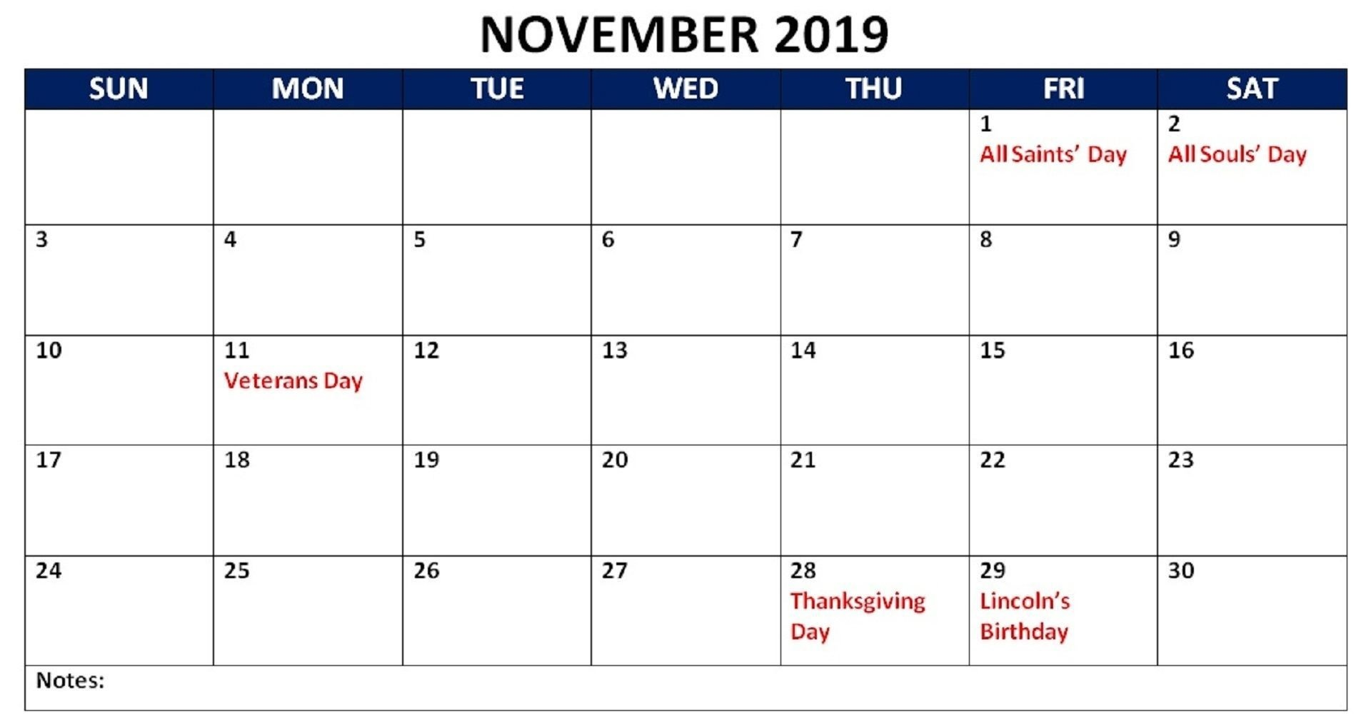 November 2019 Calendar with Holidays India