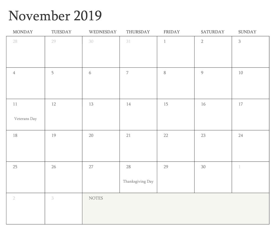 November2019Calendar with Notes