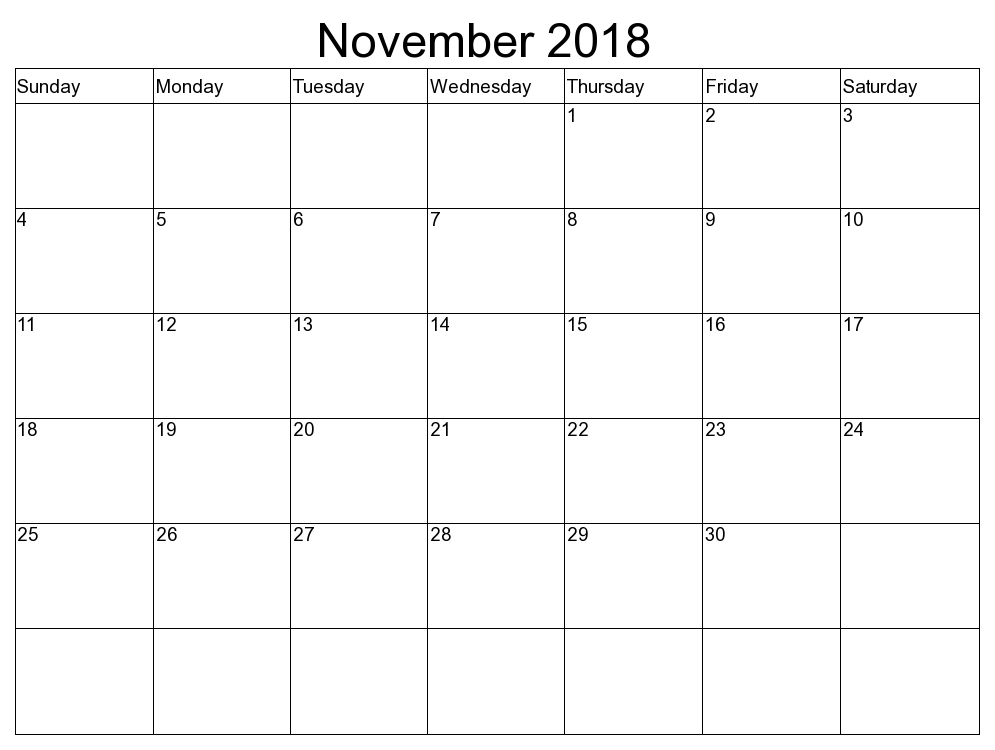 November Calendar Printable 2018