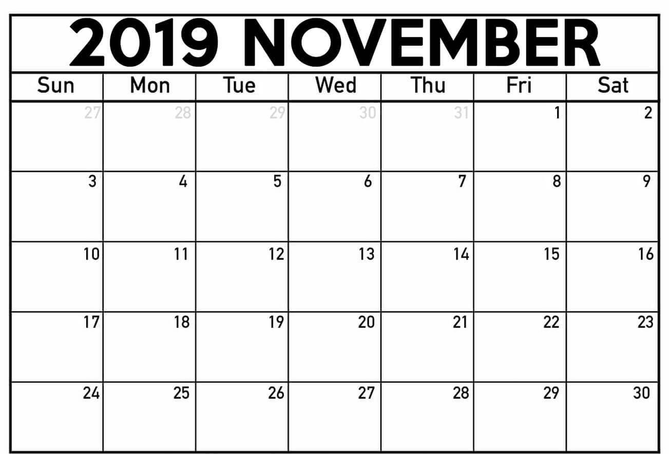 November Month Calendar 2019 Excel