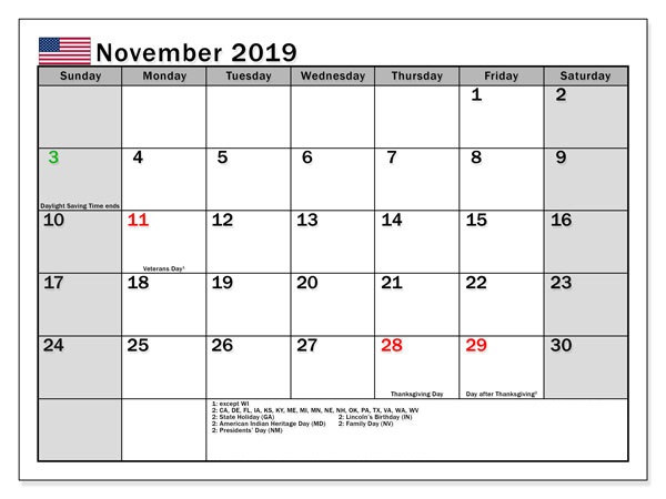 Public November 2019 Holidays School & Bank