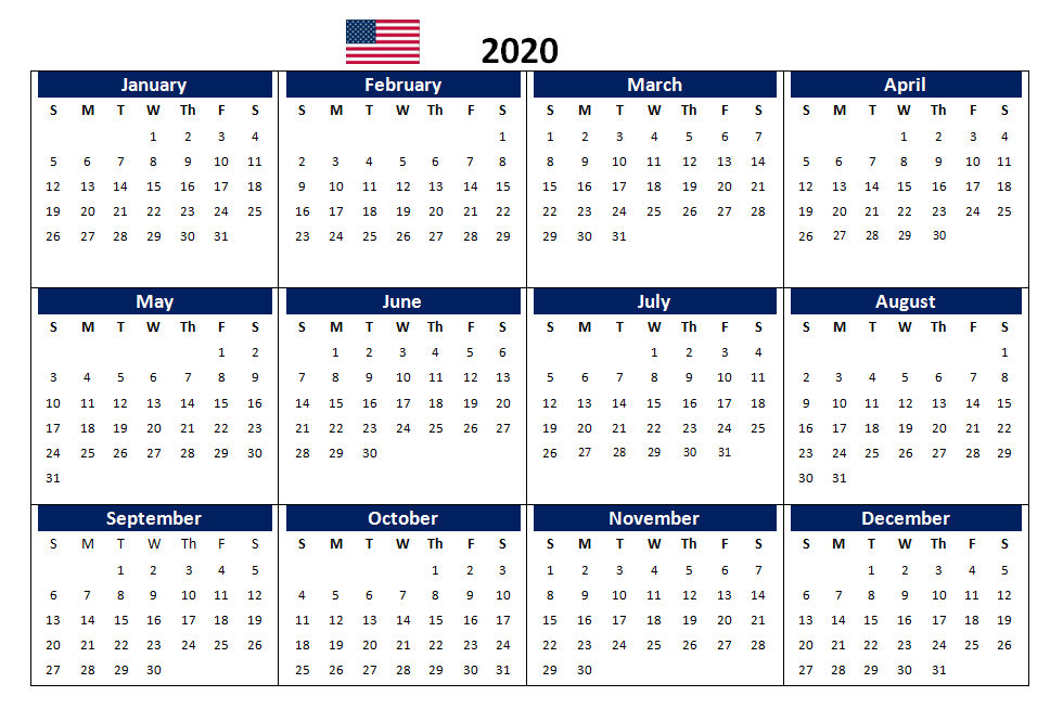 US 2020 Yearly Calendar