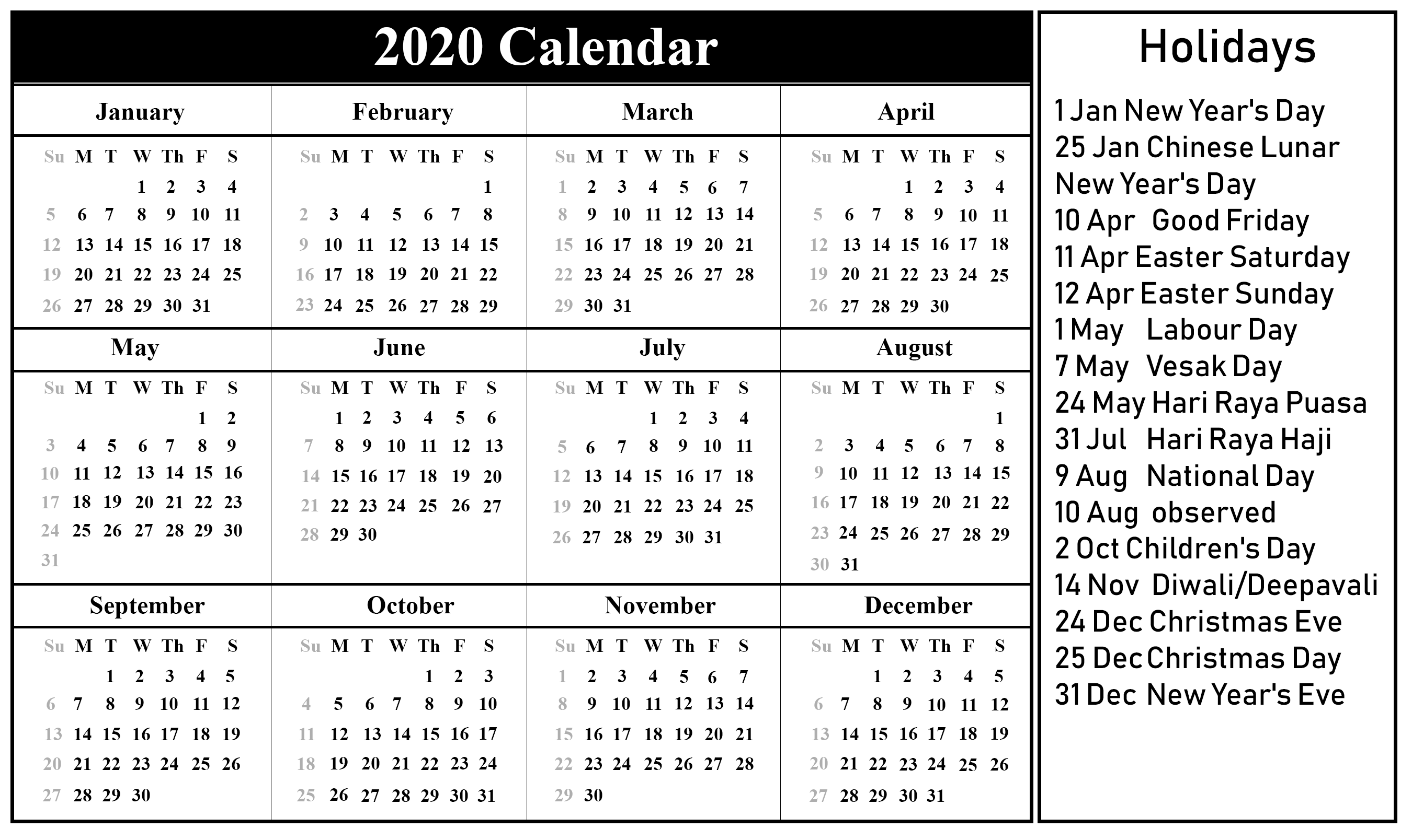 US Holiday 2020 Calendar