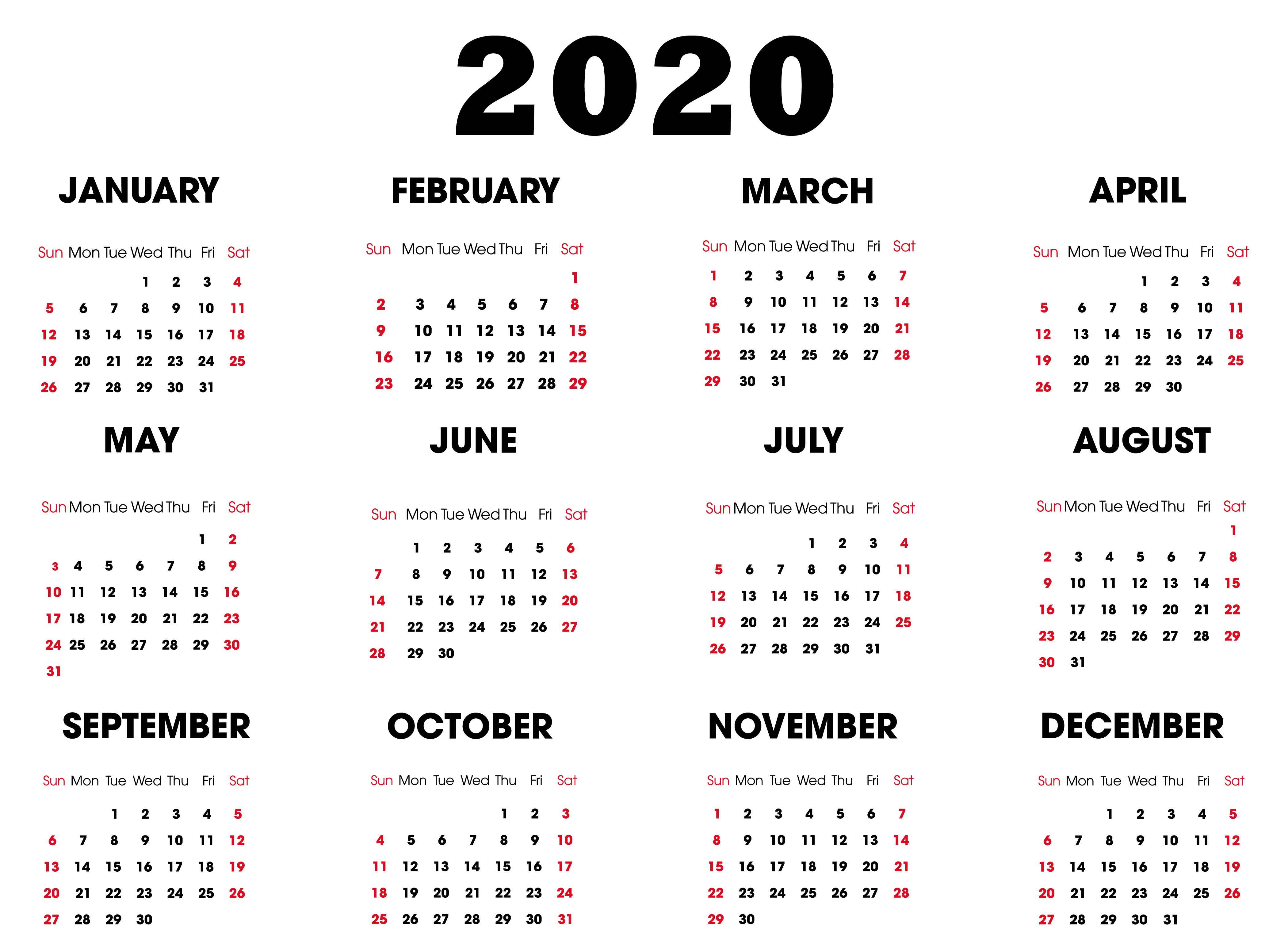 US Holiday Calendar 2020 Printable Templates