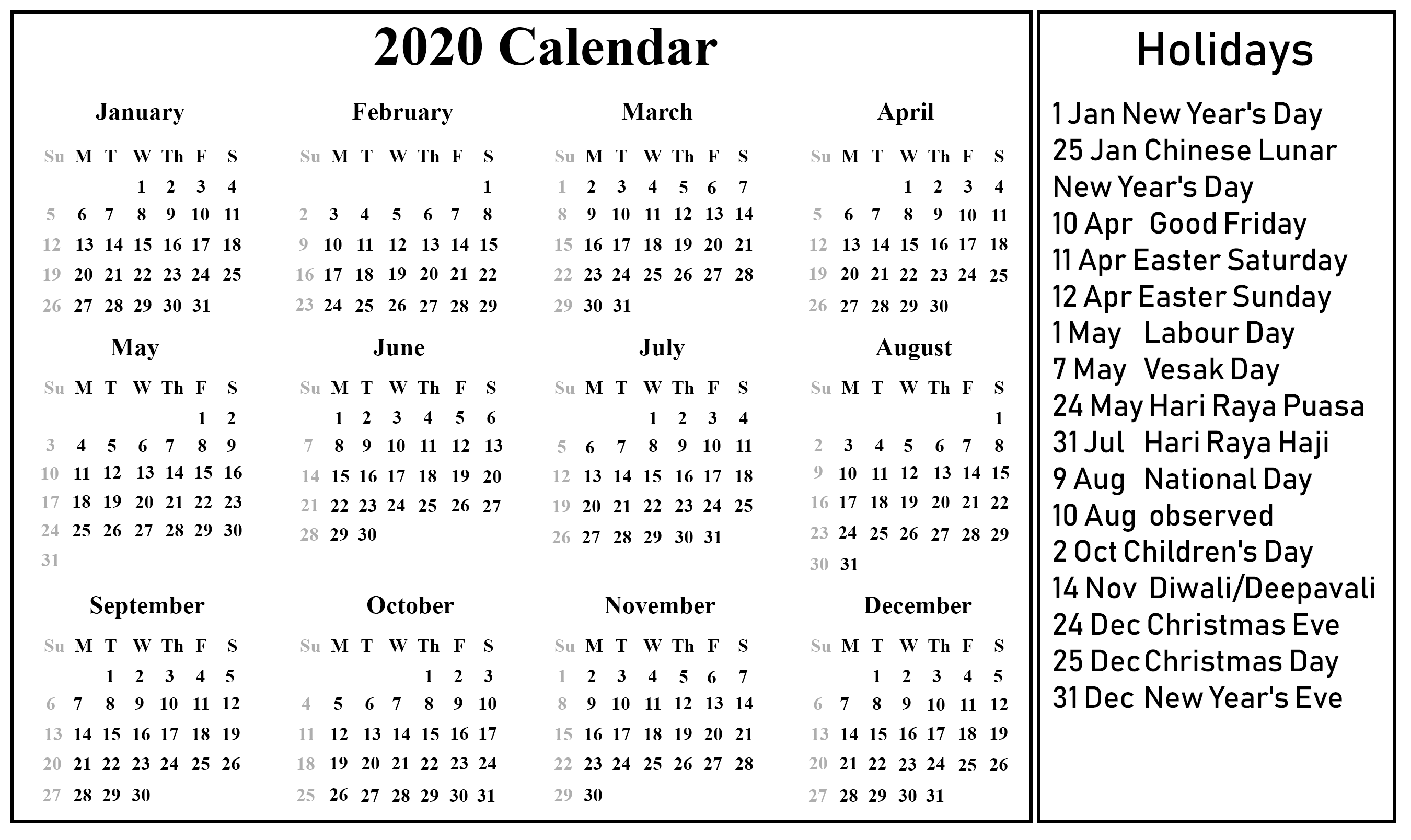US Holiday Calendar 2020 Templates