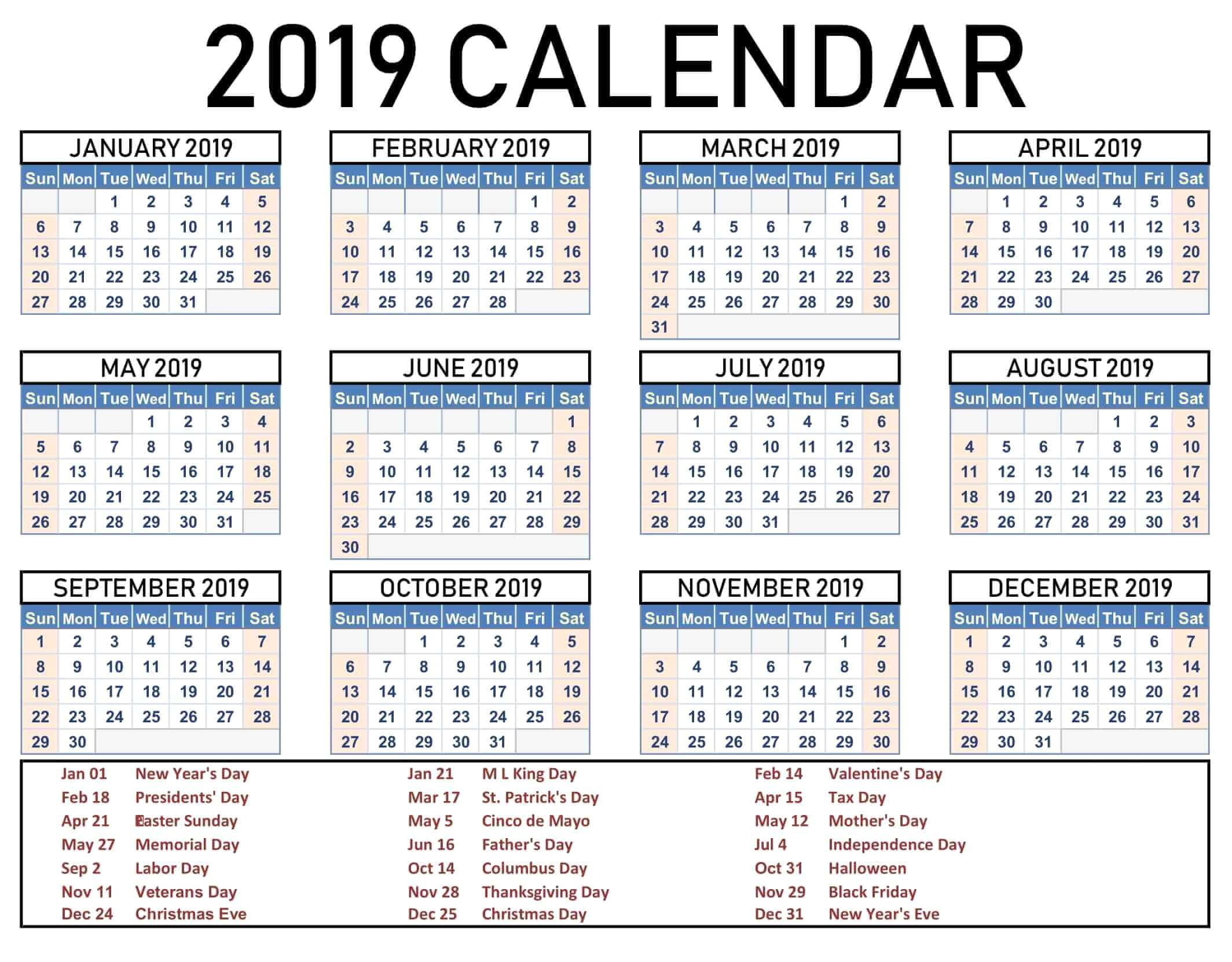 US Holiday Calendar 2020