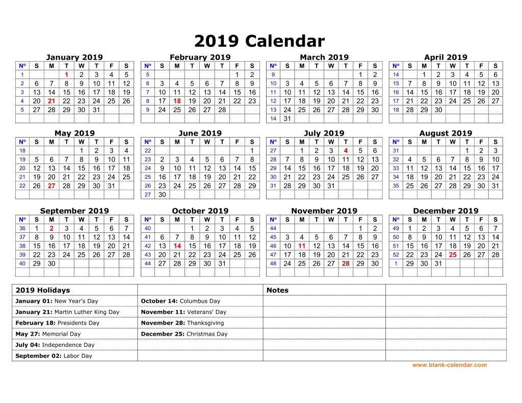 Yearly USA Holidays Calendar 2019 Printable