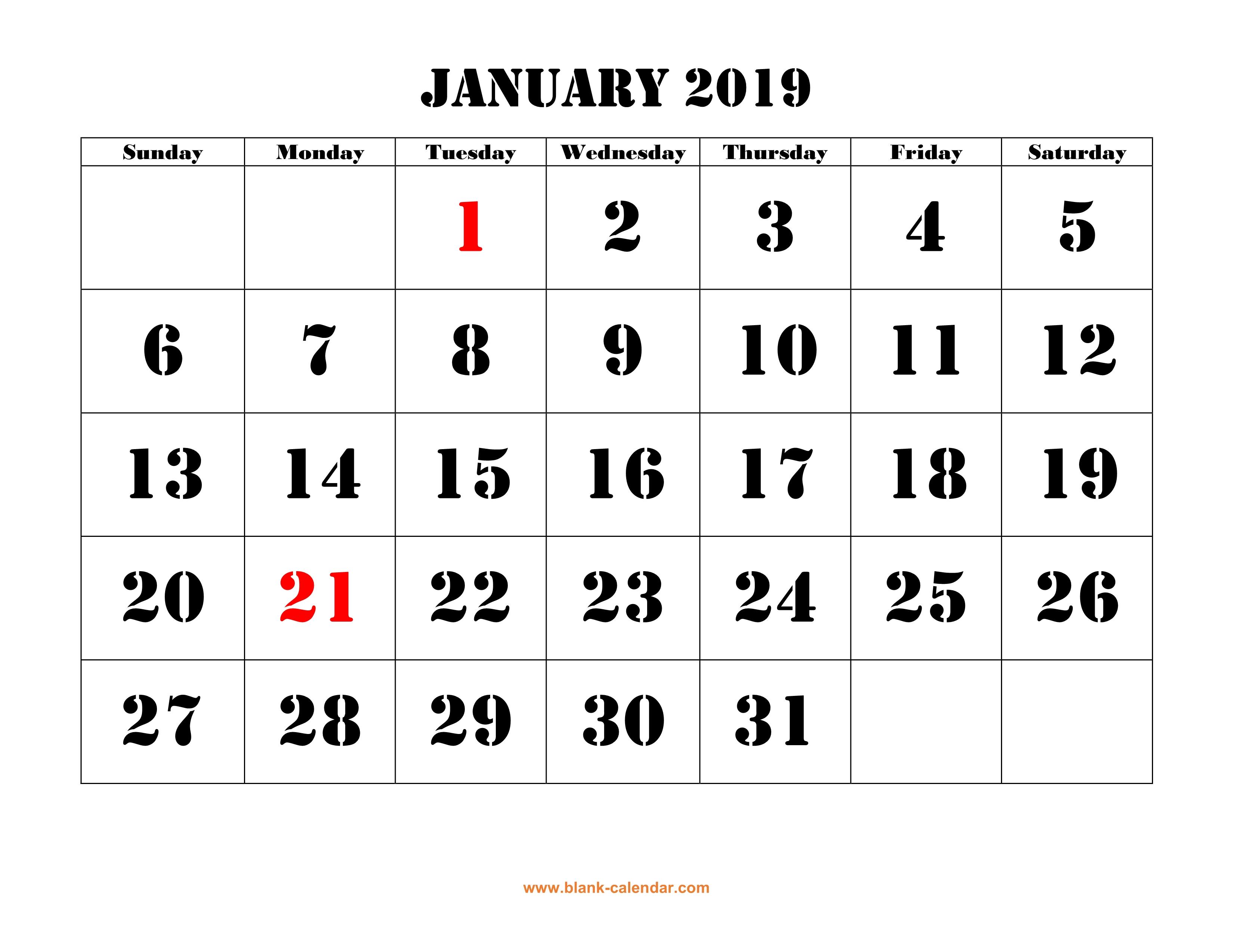 Calendar January 2019 Malaysia