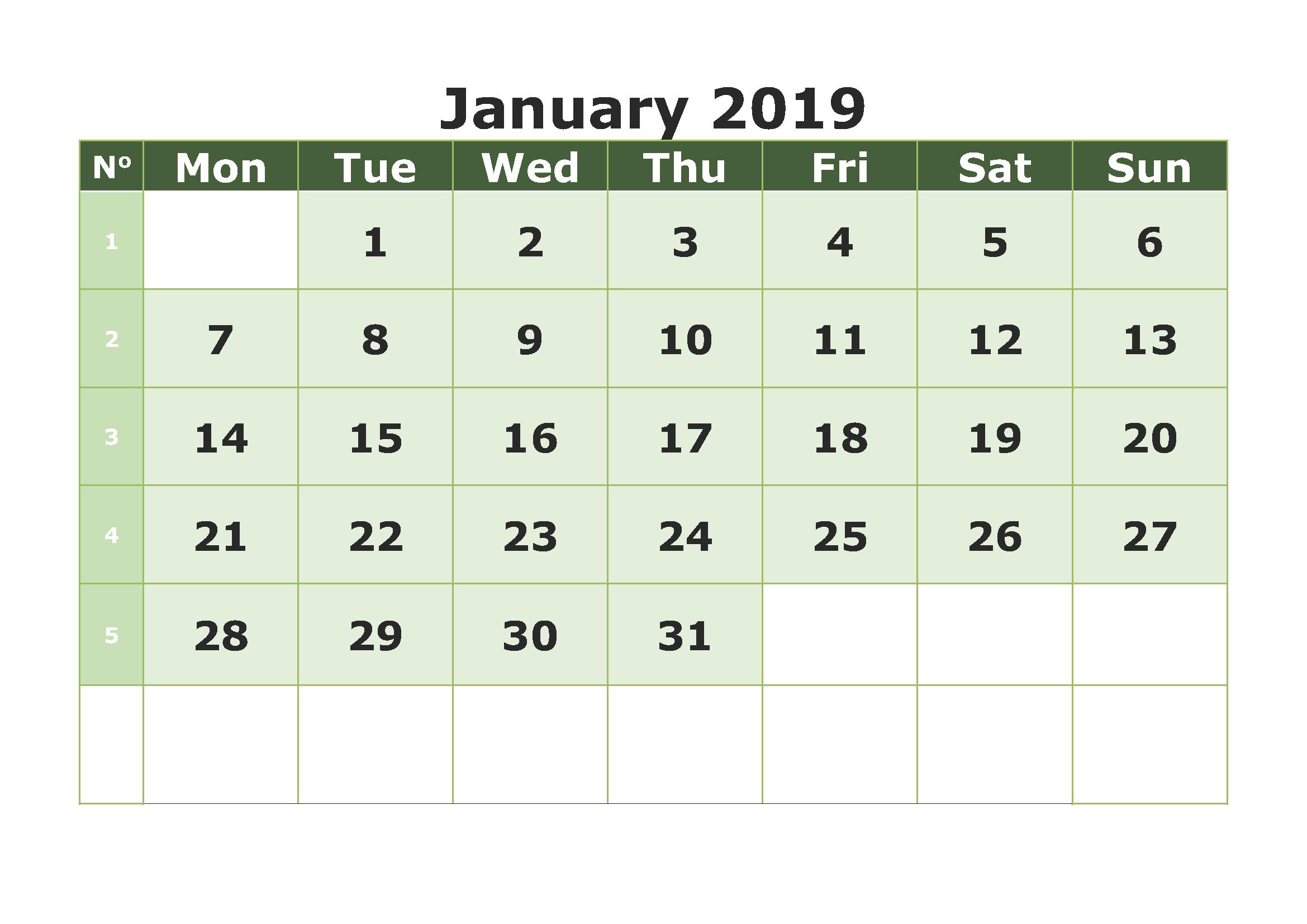 Calendar January 2019 Printable