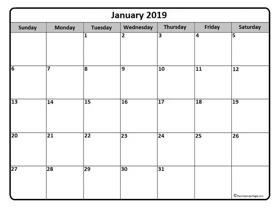 2019 Calendar for January