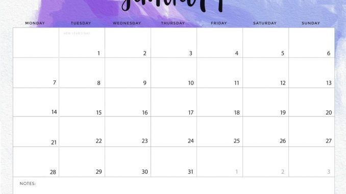 Desk Calendar January 2019