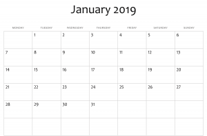 January 2019 Calendar A4