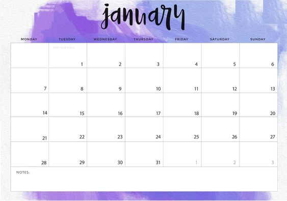 Printable And Editable January 2019 Calendar January 2019 Calendar Landscape   Free August 2019 Calendar