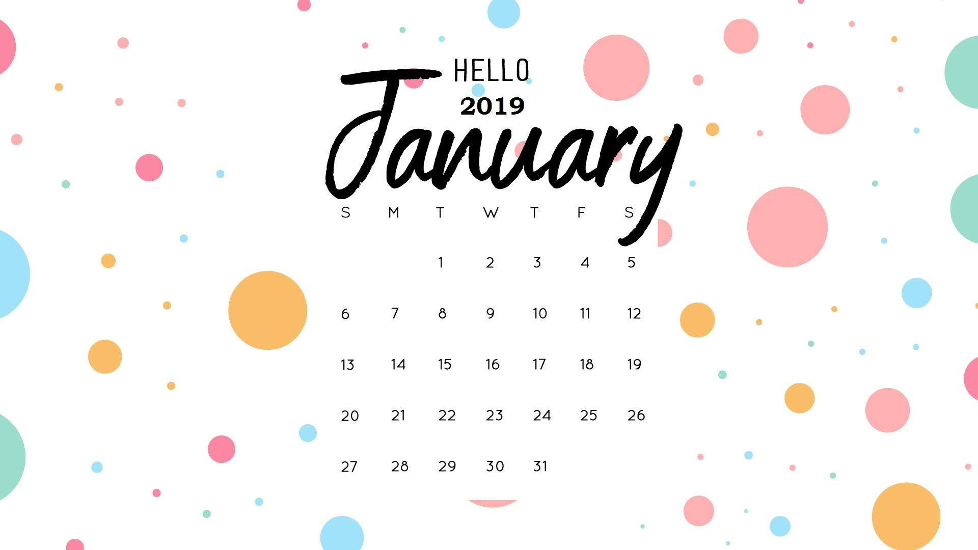 January 2019 Calendar Wallpaper HD