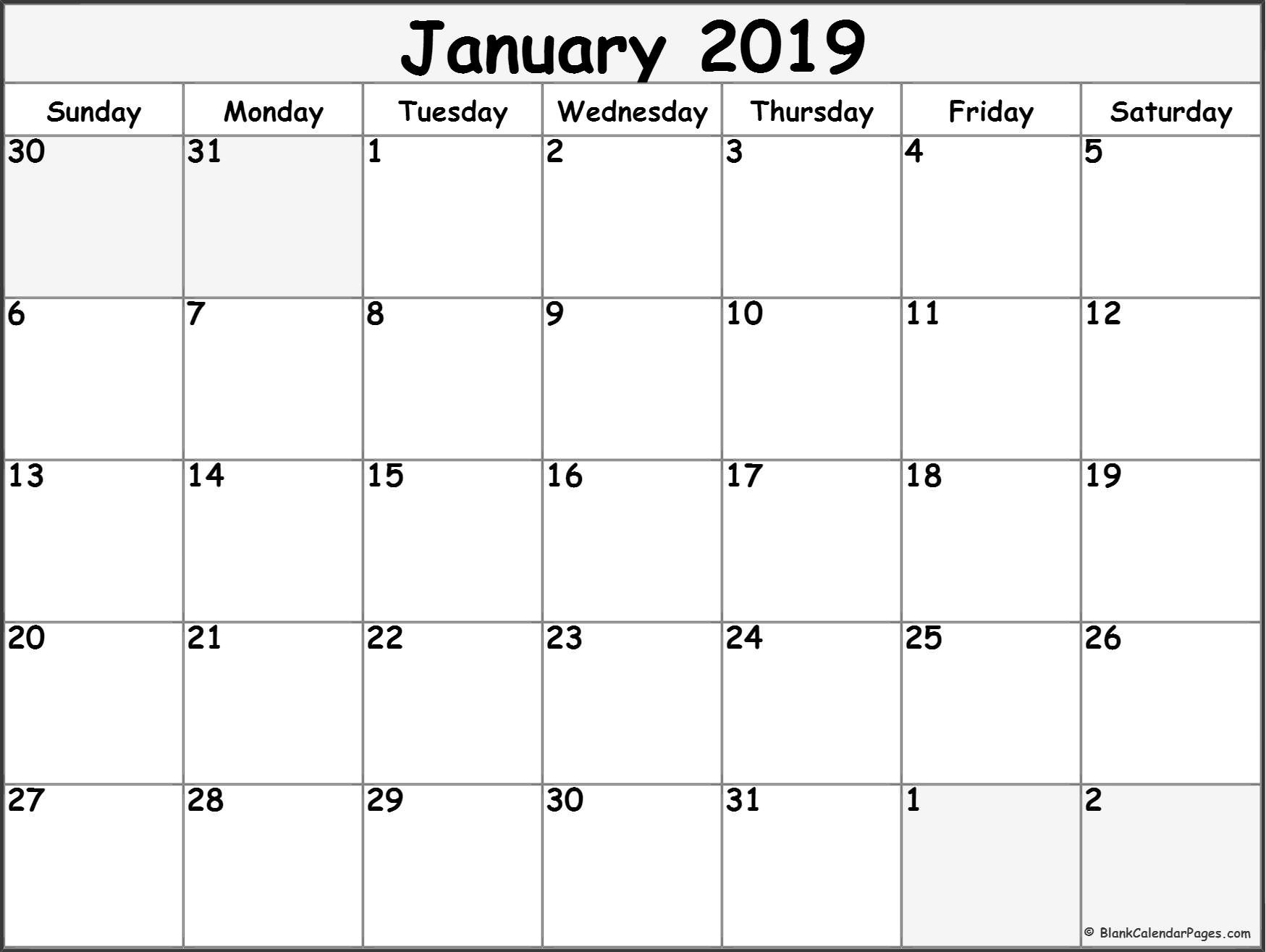 graphic about January Calendar Printable titled January 2019 Free of charge Printable Blank Calendar Variety. with