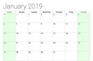 Monthly January 2019 Calendar Template