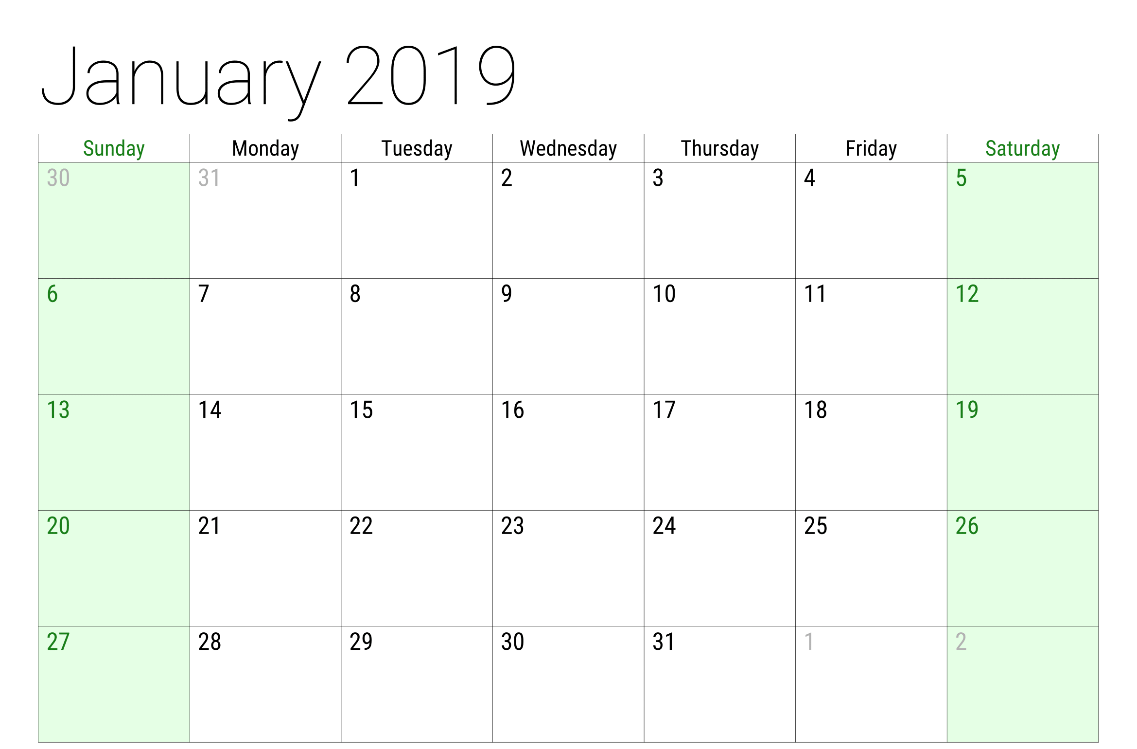Monthly January 2019 Calendar Template