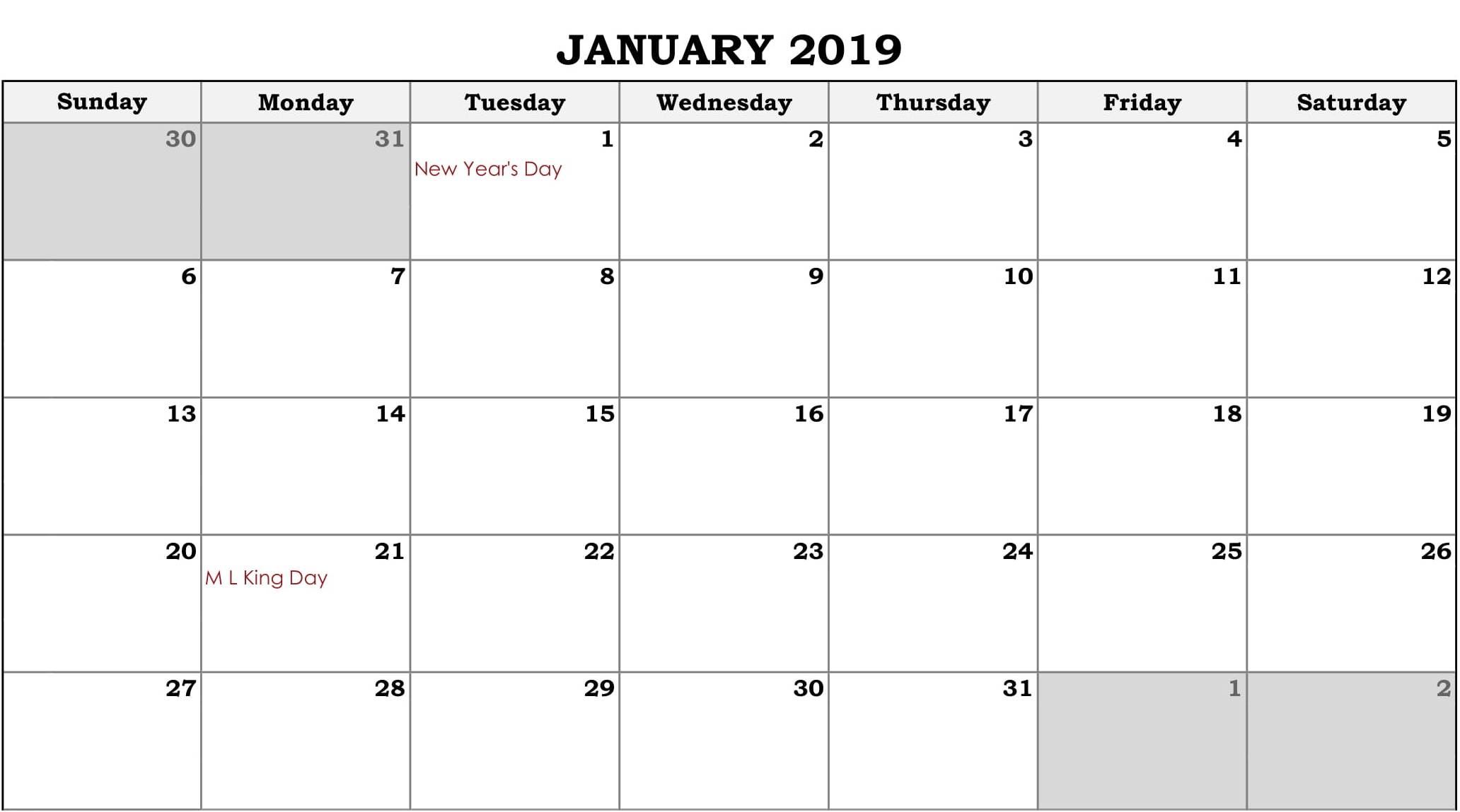 Online Fillable Calendar January 2019
