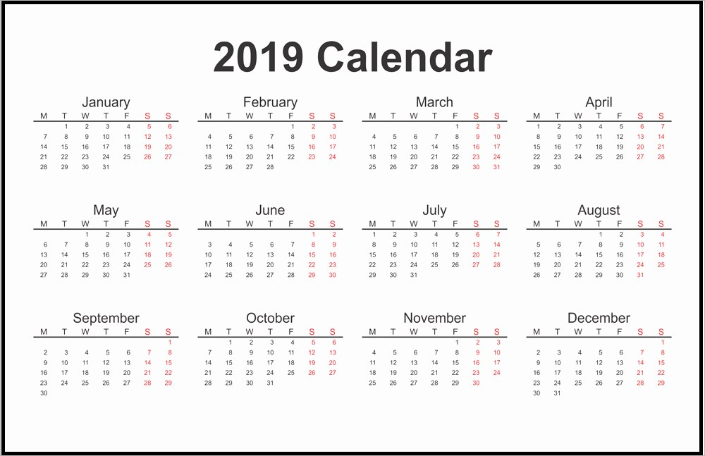 12 Months Printable 2019 One Page Calendar