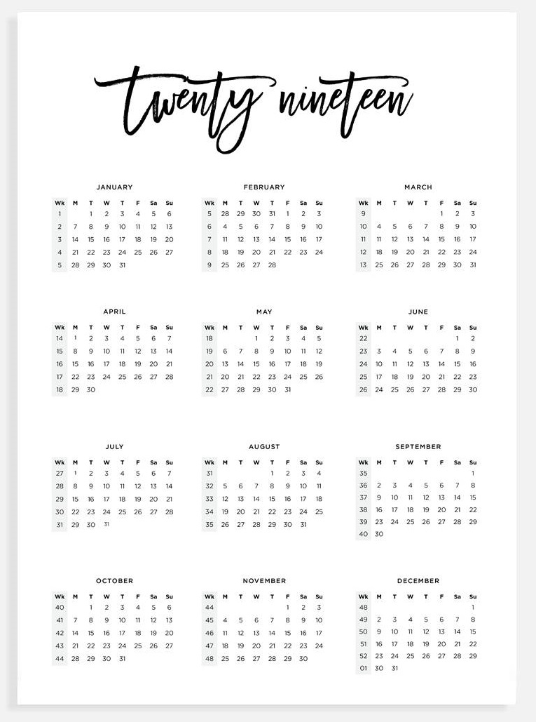 2019 Monthly Printable Calendar