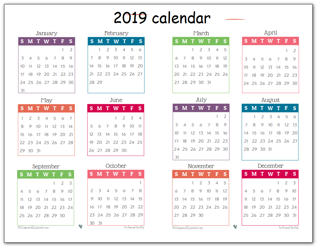 2019 Printable Calendar One Page Cute
