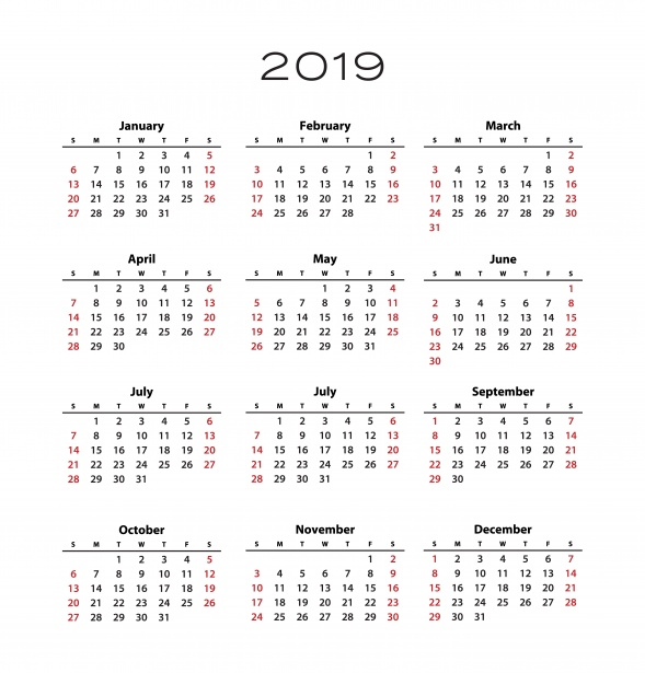 2019 Printable Calendar One Page Vertical