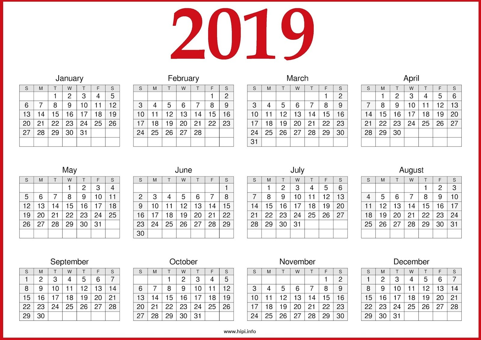 2019 Printable Yearly Calendar One Page