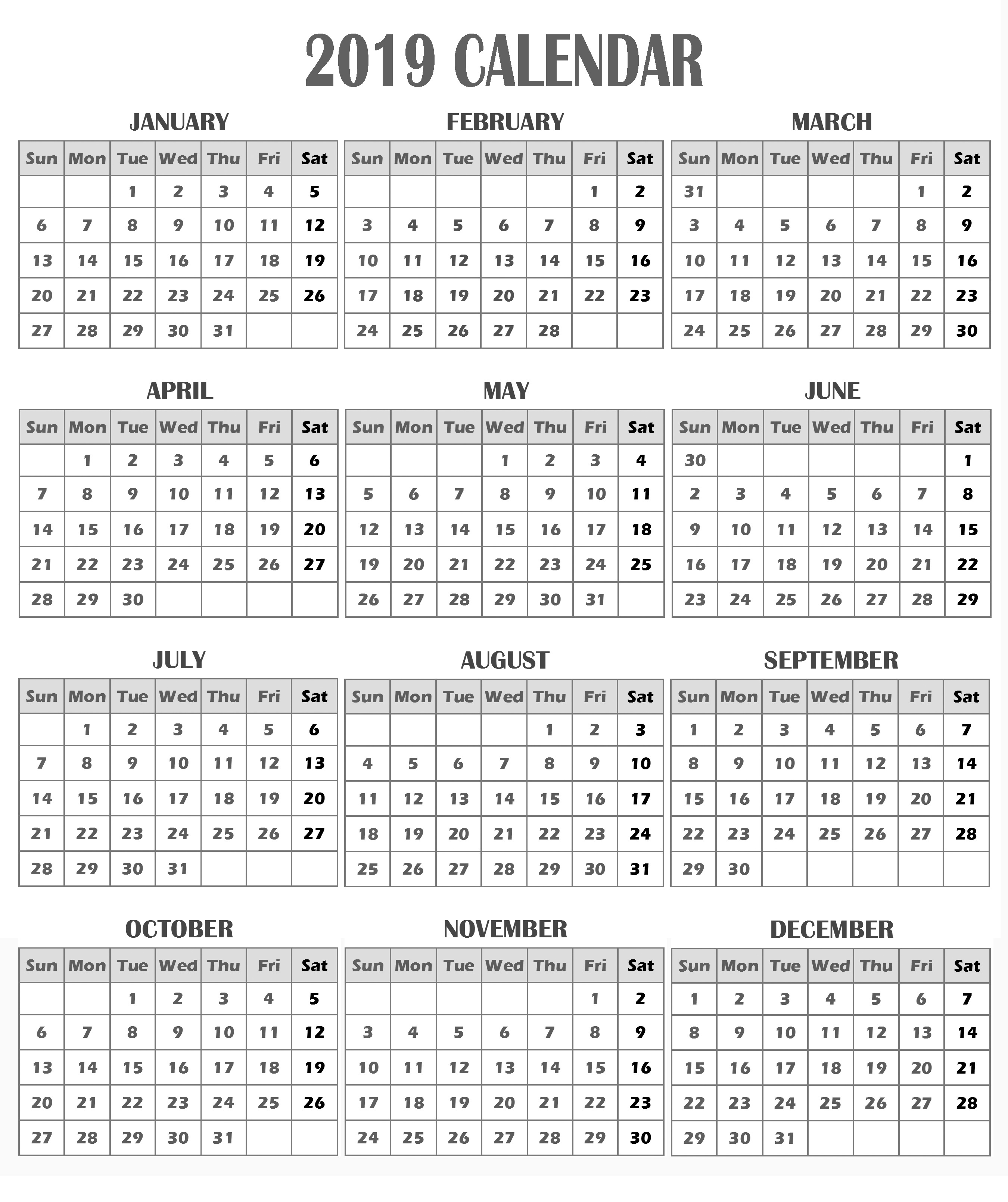 2019 Printable 12 Month One Page Calendar Template PDF