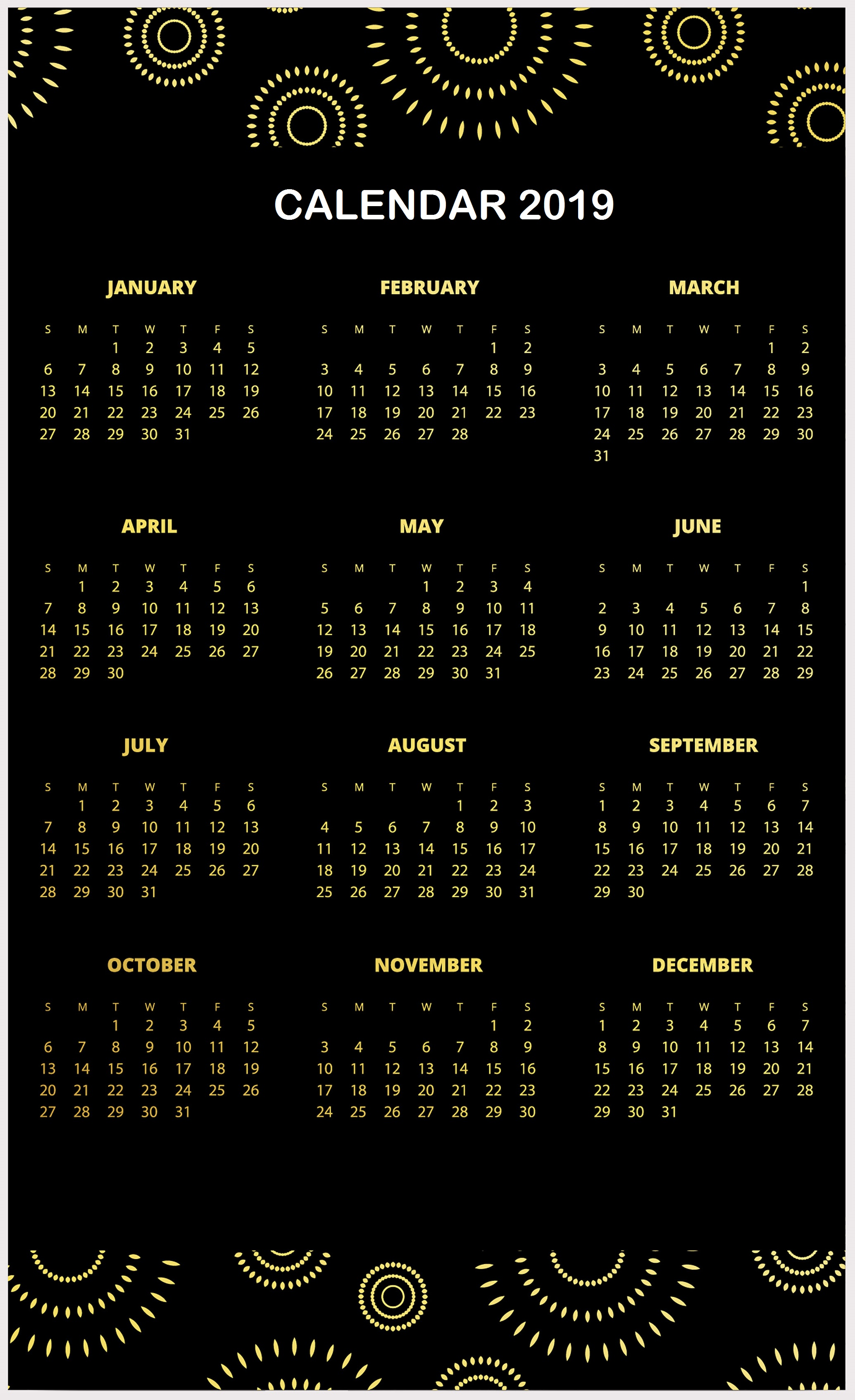 Black and Golden 2019 Pattern HD Calendar