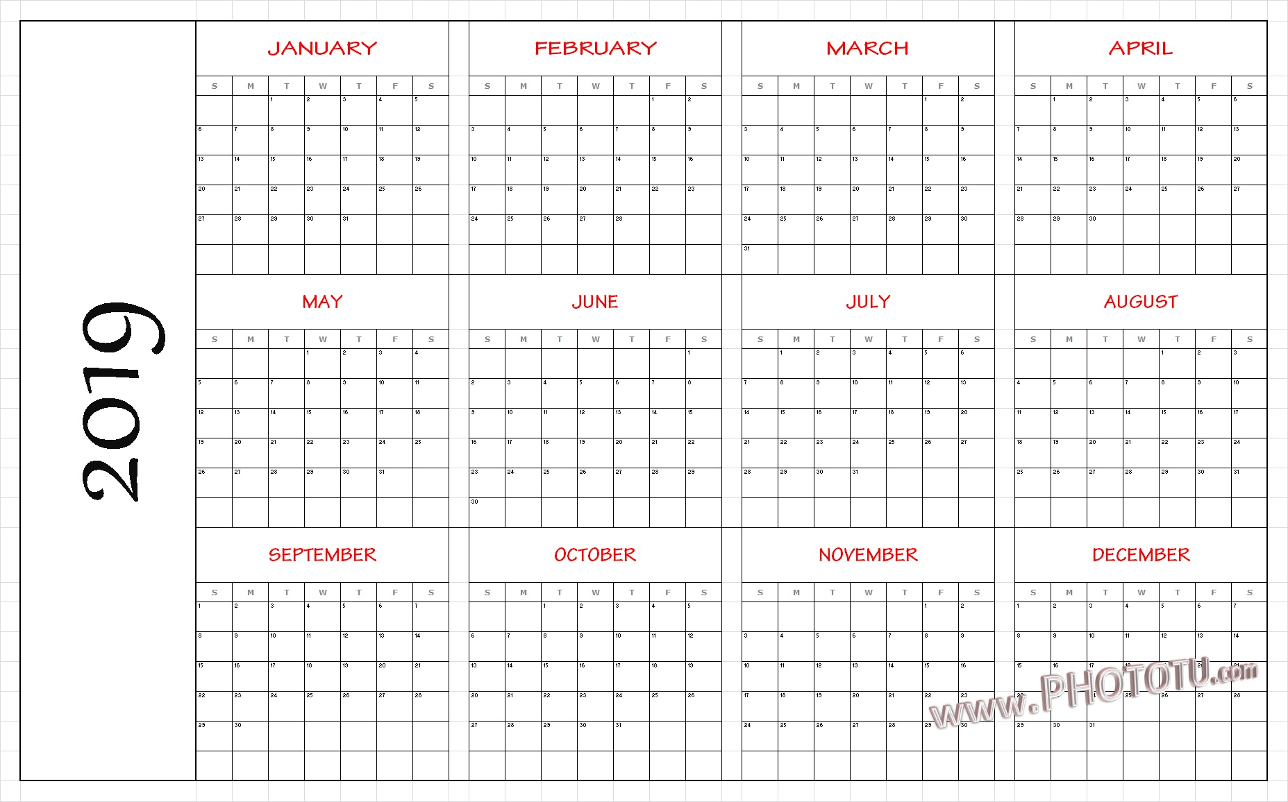 picture about Printable Calendar Months identify 2019 Printable 12 Thirty day period One particular Web site Calendar Template PDF Phrase