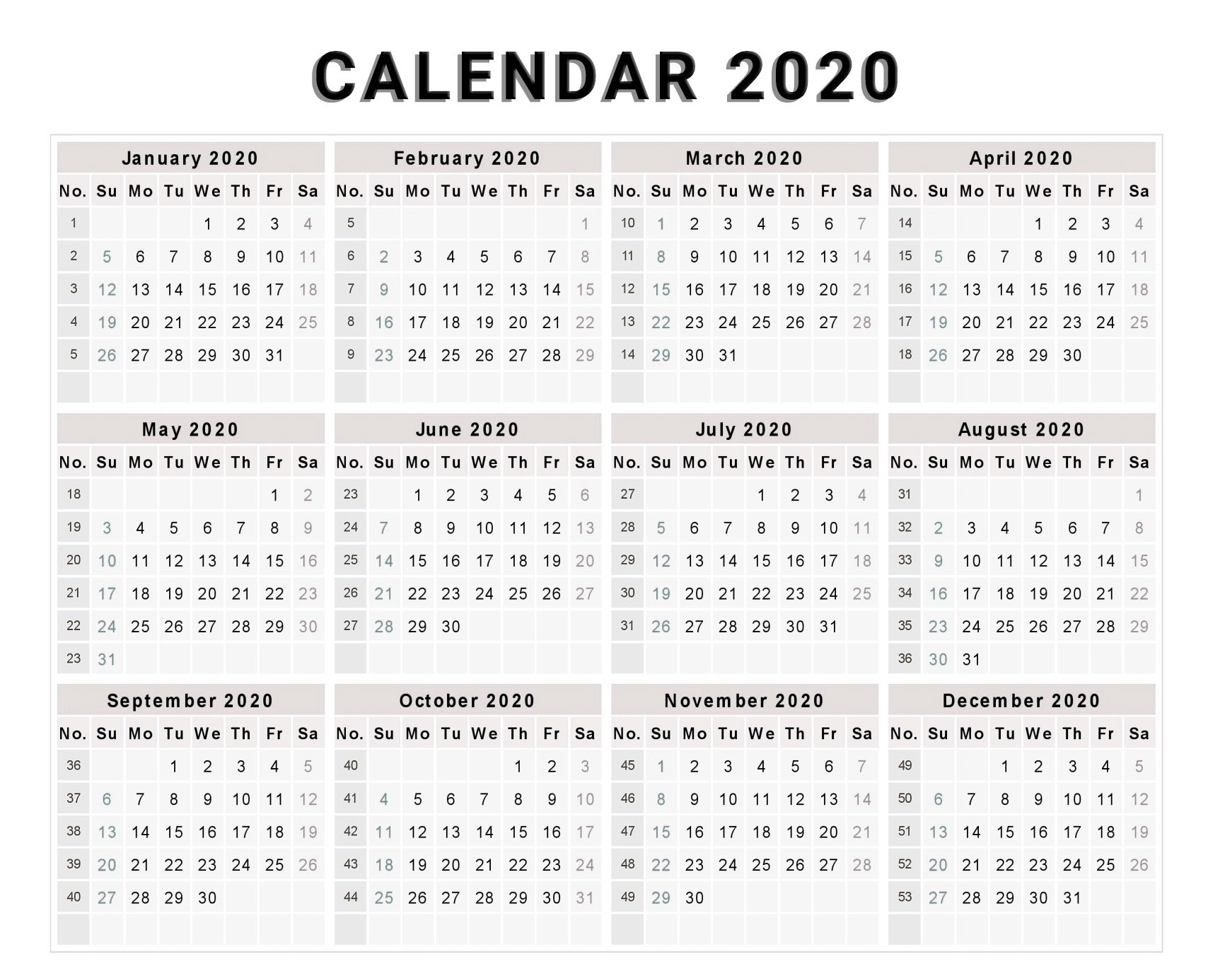 Calendar 2020 Free Template With Weeks