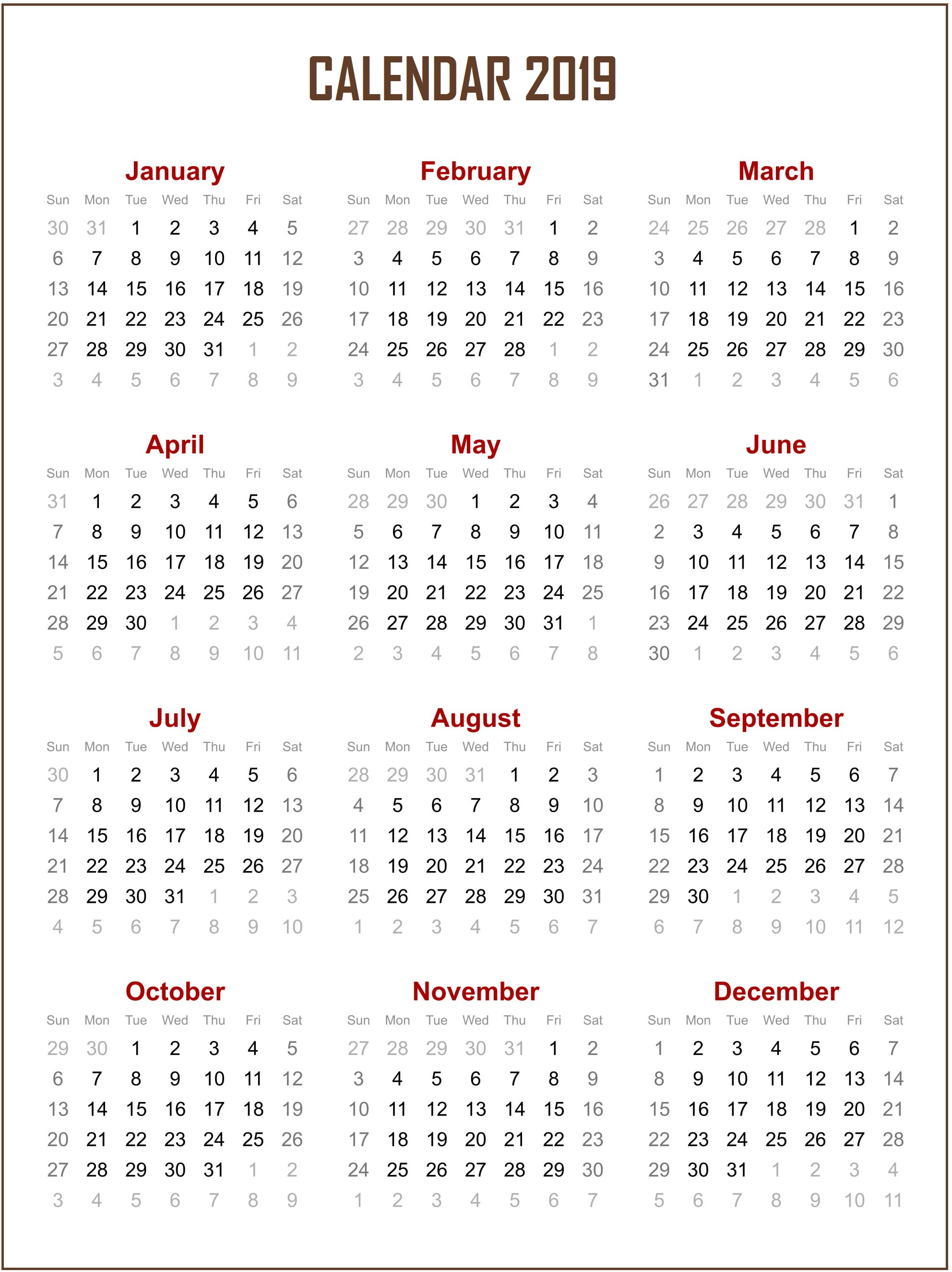 Download 2019 Yearly Calendar