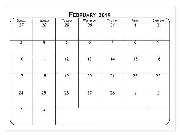 February 2019 Calendar A4