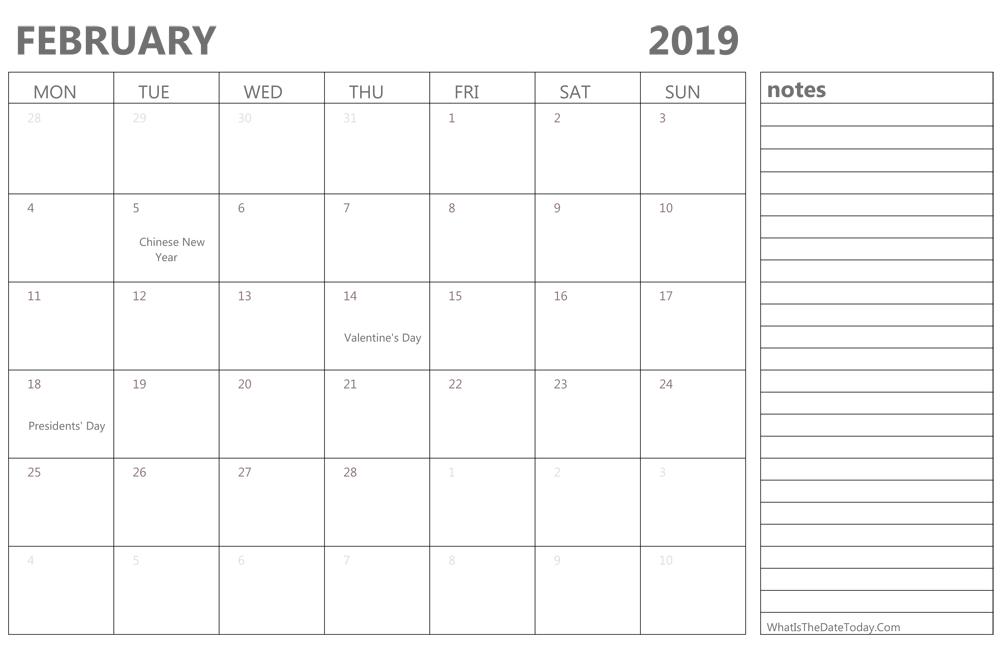 February 2019 Calendar Notes