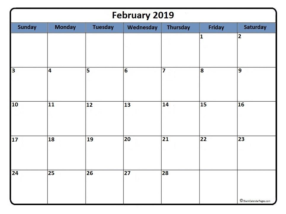 February 2019 Calendar Page