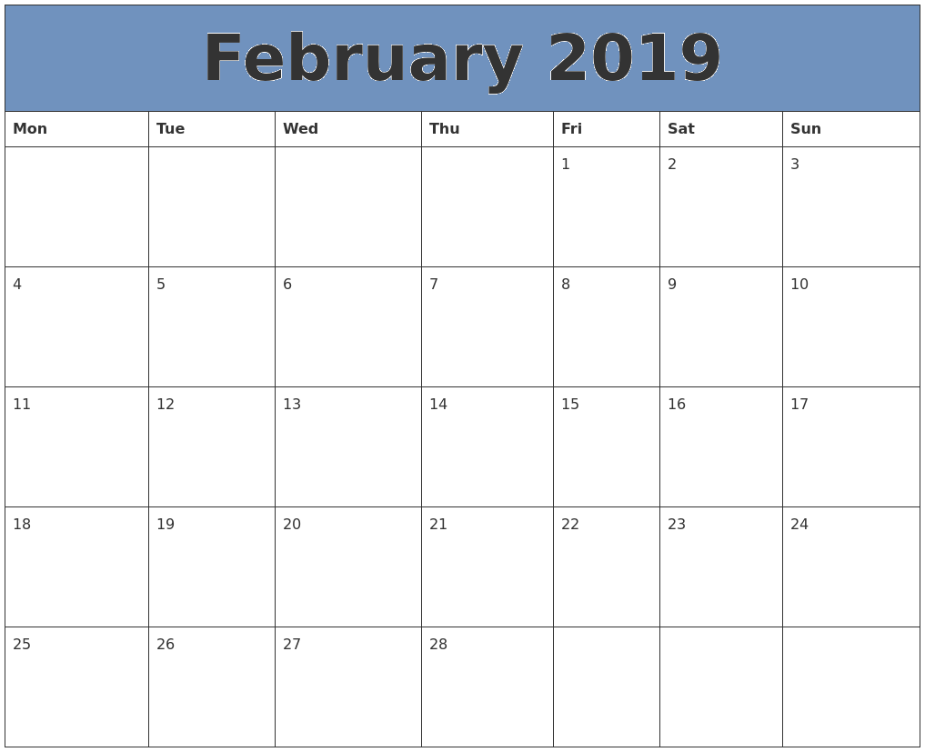 February 2019 Calendar Word Free March 2019 Calendar Printable