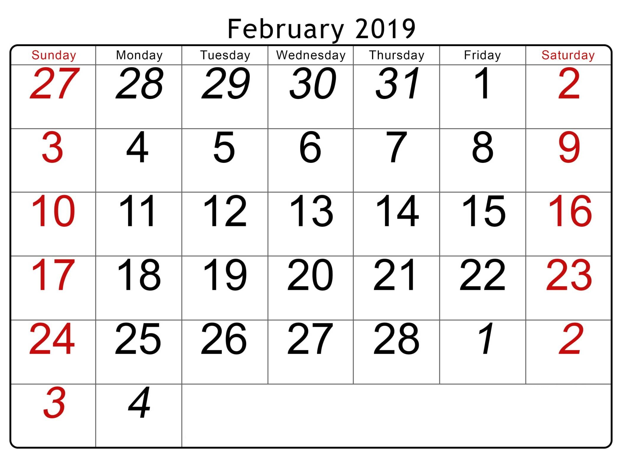 February 2019 Calendar Xls