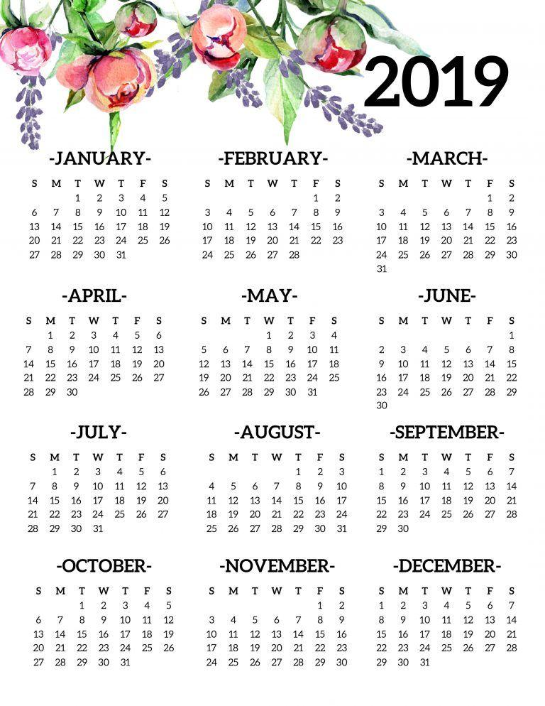 Floral 2019 Printable Desk Calendar
