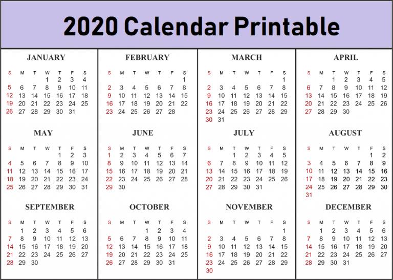 Free Printable 2020 Calendar Template